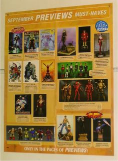 BUST/FIGURE/STATUE TOYS POSTER:HULK/X-MEN/JLA/WOLVERINE/CATWOMAN/CAPTAIN AMERICA: Here's 1 of our many rare MARVEL & DC COMICS MERCHANDISE PROMOTIONAL POSTERS that were never for sale to the public! Each Previews promo poster shows items like Bowen busts, statues, action figures, tv & movie items, toy cars, model kits, maquettes, mini-mates, and MORE! $40.00
