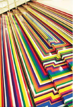 Artist Jim Lambie, Zobop (Stairs), Albright-Knox Art Gallery, Buffalo, NY