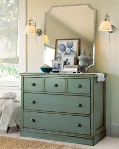 Love The Wall Lights And Simple Dresser Decor