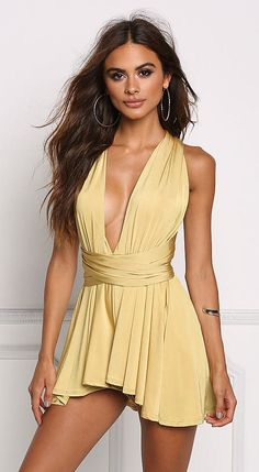 summer outfits  Yellow Romper
