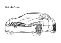Super car Buick Lacrosse coloring page, cool car printable free