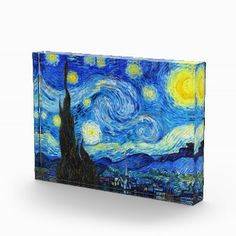 SOLD! - Cool Starry Night Vincent Van Gogh painting Acrylic Award