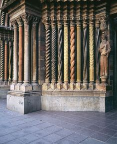 Multi-colored carved columns of a cathedral, Iglesia De Los Capuchinos, Cordoba, Argentina