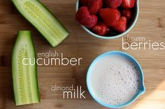 new smootie to try:  a heaping 1 1/2 cups frozen strawberries    1 cup cold almond milk    half an English (hot house) cucumber, deseeded and chopped into large chunks    1 to 2 tablespoons honey    a squeeze of lemon if you'd like