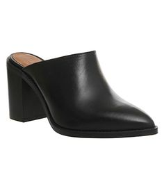 Office Wambam Point Block Mule Black Leather - Mid Heels Leather Socks, Slip On Mules, Block Heels, Heeled Mules, Fashion Shoes, Black Leather, Footwear, Stylish, Stuff To Buy