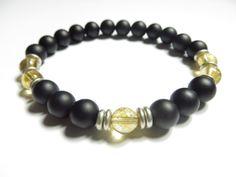 Men's Healing Mala BraceletYoga JewelryBlack OnyxWrist by HVart, $27.90