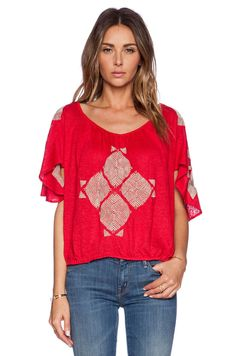 $98 NWT FREE PEOPLE PONCE DE LEON EMBROIDERED LINEN TOP IN RED COMBO -  X SMALL #FreePeople #KnitTop #Casual