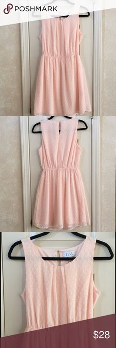 Elle Blush Dress Swiss dot dress in soft, blush pink. 100% polyester. Elle Dresses