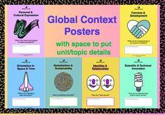 Global Context Posters with description International Baccalaureate PYP MYP DP Middle School Ela, Middle School English, I School, Ib Classroom, Classroom Displays, Classroom Decor, Ib Learner Profile, International Baccalaureate, Teaching Music