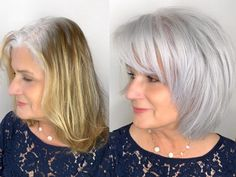 This gorgeous client came to me from Northern California seeking silver hair to match her roots. I lightened the whole head in foils just… Grey Blonde Hair, Grey Hair Don't Care, Long Gray Hair, Balayage White, Grey Hair Before And After, Medium Hair Styles, Short Hair Styles, Grey Hair Transformation, Gray Hair Highlights