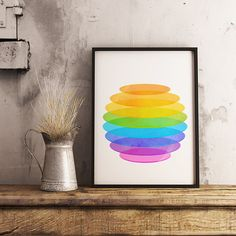 Geometric print, poster, geometric art, watercolor print, modern art print, minimalist, colorful poster, contemporary art