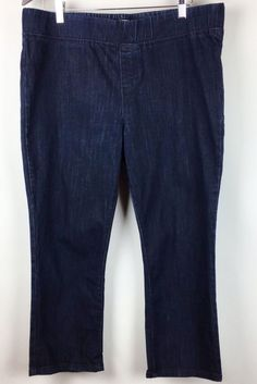 St Johns Bay Womens Denim Capri Pants Size XL Pull On Elastic ...