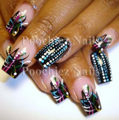 the best nail designs for long nails | Colorful Wild Nail Design :: Nail Art Design From CoolNailsArt