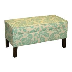 Canary Storage Ottoman Bench - Light Blue