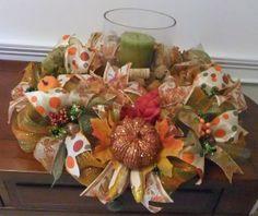 Deco Mesh Table Centerpiece, Fall Wreath on Etsy, Holiday Centerpieces, Candle Centerpieces, Centerpiece Decorations, Floral Centerpieces, Thanksgiving Decorations, Thanksgiving Table, Fall Deco Mesh, Deco Mesh Wreaths, Holiday Wreaths
