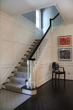 6 Fortunate Cool Tricks: Wainscoting Entryway Home wainscoting trim ideas.Wainscoting Hallway Garage wainscoting board and batten staircases. Wainscoting Height, Black Wainscoting, Wainscoting Kitchen, Painted Wainscoting, Dining Room Wainscoting, Wainscoting Panels, Wainscoting Ideas, Wainscoting Nursery, Stairs Trim