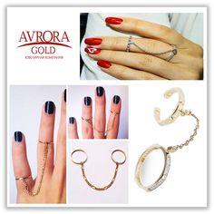 Два кольца соединены подвижной цепочкой достаточной длины, чтобы оставить за вами решение как их носить: на разные фаланги одного пальца, либо на два соседних пальца. Такой неброский, изящный аксессуар будет уместен с любым нарядом 〰  #Avrora #Jewelry #girls #fashion #золотоекольцо #style #АврораГолд #goldenrings