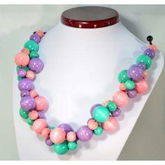 Korale drewniane reguowane PASTELOWE Raj, Beaded Necklace, House, Jewelry, Beaded Collar, Jewlery, Pearl Necklace, Home, Jewerly