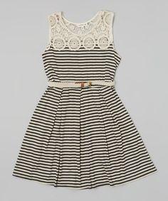 Beige & Black Stripe Crochet Dress by Monteau Girl #zulily #ad *pretty