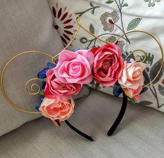 Large Make It Pink, Make it Blue Floral Mouse Ears by EarsByErin on Etsy https://www.etsy.com/listing/461542946/large-make-it-pink-make-it-blue-floral