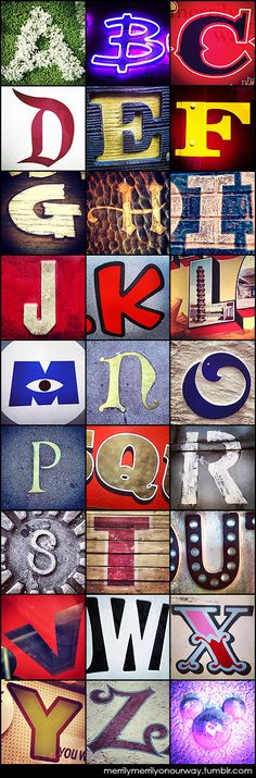 This is just awesome! Over the last couple of months, this pinner photographed letters at both Disneyland and California Adventure to create their own alphabet. WOW!