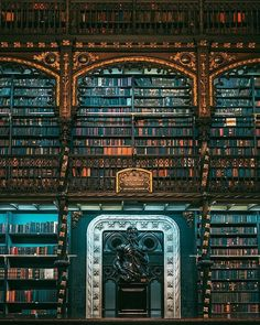 This is a photo of the Royal Portuguese reading room in Rio De Janeiro. This st Beautiful Library, Dream Library, Library Books, Photo Library, Old Libraries, Bookstores, Bookshelf Plans, Bookshelves, World Of Books