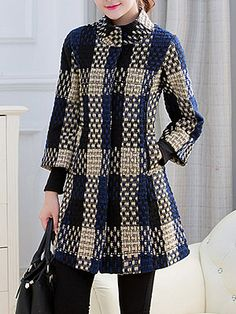 High Neck Slit Pocket Checkered Coats - Look Fashion Look Fashion, Winter Fashion, Womens Fashion, Fashion Trends, Latest Fashion, Fashion 2016, Fashion Ideas, Rare Fashion, Fashion Coat