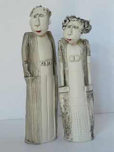 Roger and Ruth Great sculpture, ej Paper Mache Sculpture, Pottery Sculpture, Sculpture Art, Sculptures, Ceramic Clay, Ceramic Pottery, Pottery Art, Toy Art, Clay People