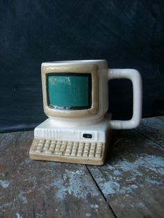 Vintage Coffee Mug- Computer Monitor $12. I need this to keep my pens in.