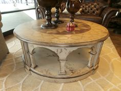 """Rossette handpainted 54"""" round coffee table. Such a great Old World feel to it. Stands 22"""" tall. Arrived: Wednesday October 5th, 2016"""