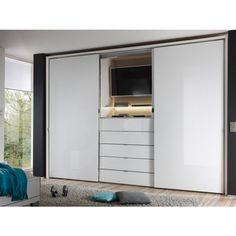 wardrobes sliding doors with tv Small Bedroom Wardrobe, Bedroom Built Ins, Bedroom Closet Design, Tv In Bedroom, Built In Wardrobe, Trendy Bedroom, Interior Design Living Room, Master Bedroom, Bedroom Decor