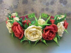 .headband  of  fabric  flowers