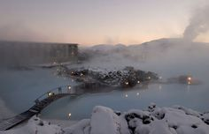 The Blue Lagoon Iceland.  How cool would it be to go here in the winter?