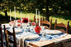 An intimate friend dinner outside... in an orchard. (A friend set up this party at Riverview Farm in Plainfield, NH)
