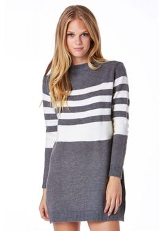 Seeing Stripes Oversized Sweater in Charcoal | Necessary Clothing
