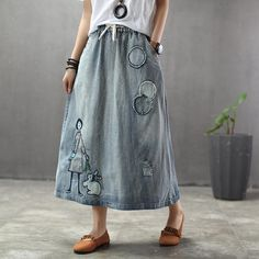 BABAKUD Summer Thin Cartoon Embroidered Patch Swing Denim Skirt skirt skirt skirt skirt outfit skirt for teens midi skirt Jeans Trend, Linen Skirt, Couture, Cotton Linen, Elastic Waist, High Waisted Skirt, Textiles, Embroidered Patch, Rock