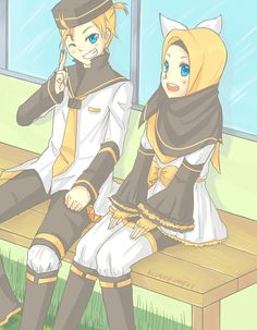 i think i have an addiction in drawing them with Muslim and muslimah outfits~ they look so adorable!!! don't theY?? they do!!! this little fluffy tiny biny fuwa-fuwa no futago!!! I can stand them.....