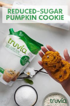 These Pumpkin Cookies made with Truvia Cane Sugar Blend have less sugar than the full-sugar version. Its natures Halloween trick. Pumpkin Cookies made with Truvia Cane Sugar Blend Sugar Free Cookies, Sugar Free Desserts, Sugar Free Recipes, Low Carb Desserts, Cookie Desserts, Diabetic Cookies, Keto Cookies, Diabetic Recipes, Keto Recipes