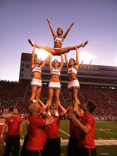 Cheer University of Utah college cheerleaders on the football field stunt splits pyramid game coed collegiate cheerleading via http://pinterest.com/karlyecc/one-and-only-cheer/ - #Utah Cheerleaders, 2011-2012 | Ute Girls #KyFun