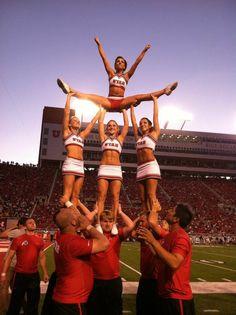 Cheer University of Utah college cheerleaders on the football field stunt splits pyramid game coed collegiate cheerleading via http://pinterest.com/karlyecc/one-and-only-cheer/ - #Utah Cheerleaders, 2011-2012 | Ute Girls #KyFun m.7.55 moved from @Kythoni main cheerleading board