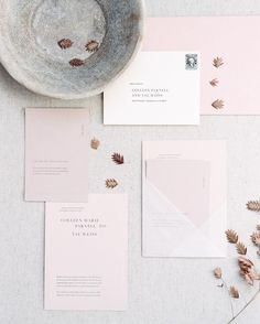 FOR THE STATIONARY || NOVELA BRIDE...Elegant simple pink wedding invitation suite with modern contemporary vellum pockets || Where the modern romantics play & plan the most stylish weddings... www.novelabride.com @novelabride #jointheclique