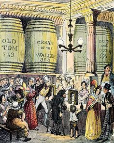 George Cruikshank's illustration of a gin palace, for Charles Dickens' Hard Times (1854): © Alamy