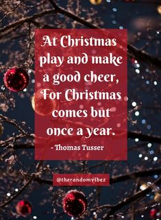 """""""At Christmas play and make a good cheer, For Christmas comes but once a year.""""- Thomas Tusser #Christmasquotes #Merrychristmasquotes #Shortchristmasquotes #2020Christmasquotes #Merrychristmas2020quotes #Christmasgreetings #Inspirationalchristmasquotes #Cutechristmasquotes #Christmasquotesforfriends #Warmchristmaswishes #Bestchristmasquotes #Christmasbiblequotes #Christmaswishesforfamily #Christmascaptions #Festivechristmasquotes #Merrychristmasimages #Merrychristmaspictures #therandomvibez Christmas Wishes For Family, Short Christmas Quotes, Christmas Quotes Images, Christmas Quotes For Friends, Christmas Captions, Merry Christmas Pictures, Christmas Bible, Christmas Greetings, Christmas Humor"""