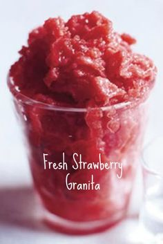 Fresh Strawberry Granita Recipe  | whatscookingamerica.net  | #strawberry #granita