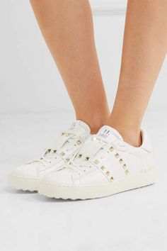 Valentino The Rockstud Untitled Leather Sneakers - White