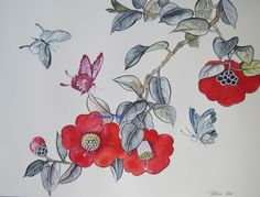 "original watercolor ""Camellia"" by Tatiana Oles #contemporary"