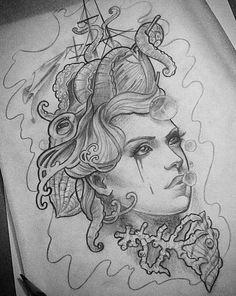 woman face tattoo designs - Google Search