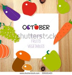 Template with fruits and vegetables vector icon. Modern flat design on wooden texture. Fresh food background.