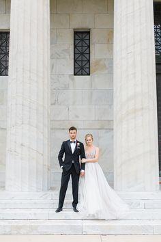 Marble Columns for a Stylish Wedding Day Photo Shoot    #wedding #weddings #weddingideas #weddingeditorial #brideandgroom #justmarried #weddingday #hayleypaige #weddingdress #groomstyle #tuxedo #blacktie #weddingphotos