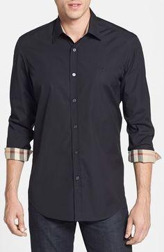 Burberry 'Henry' Classic Fit Cotton Blend Sport Shirt - Men's Fashion, shirt, fit, sport.